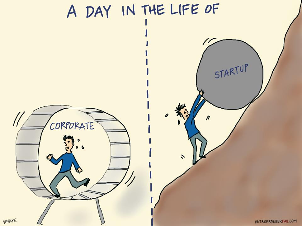 a day in the life of corporate vs startup